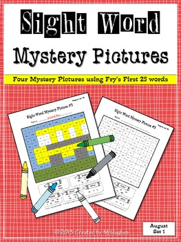 Sight Word Mystery Pictures - August Set 1