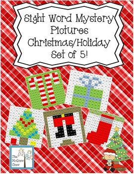 Sight Word Mystery Pictures Christmas Holiday Set of 5