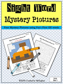Sight Word Mystery Pictures - July Set #1
