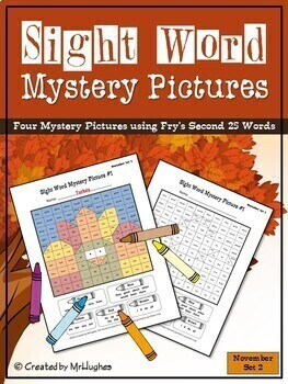Sight Word Mystery Pictures - November Set 2