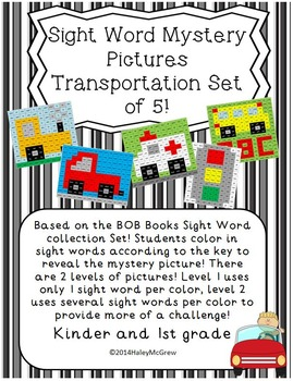 Sight Word Mystery Pictures Transportation Set of 5