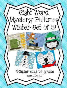 Sight Word Mystery Pictures Winter January Set of 5