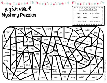 Sight Word Mystery Puzzles Coloring - ARC 1G!