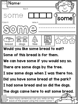 Sight Word Fluency and Word Work Set 3