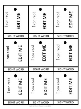 Sight Words Flash Cards with Assessment Kindergarten Necklace Practice