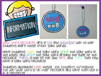 Sight Word Necklaces *Pre-Primer List*