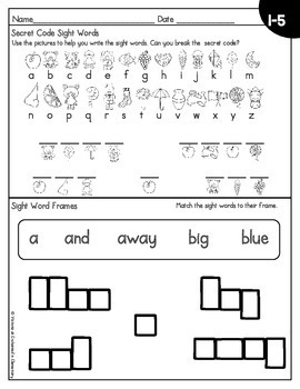 Sight Word No-Prep Printables: Pre-Primer Pack Freebie Sampler