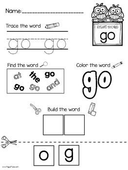 Sight Word No Prep Writing Practice Unit 1