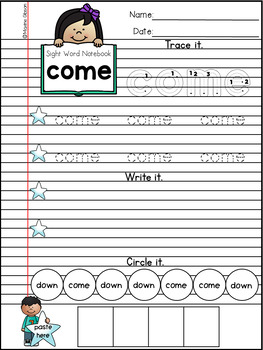 Sight Word Notebook Activities Pre-Primer