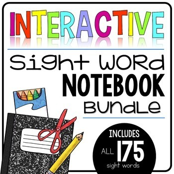 interactive sight word notebook bundle 175 words editable version