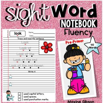 Sight Word Notebook Fluency Pre-Primer