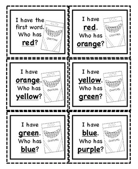 I Have Who Has Number and Color Words