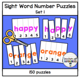 Sight Word Number Puzzles (ALL 150 Words from Edmark Level 1 Word List)