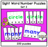 Sight Word Number Puzzles (ALL 200 Words from Edmark Level 2 Word List)