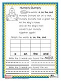 Sight Word Nursery Rhyme Graphs Set 1
