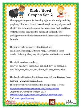 Sight Word Nursery Rhyme Graphs Set 2