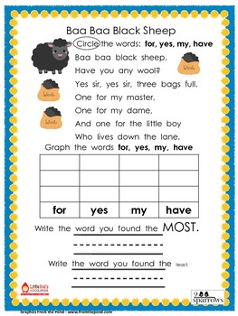 Sight Word Nursery Rhyme Graphs Set 2