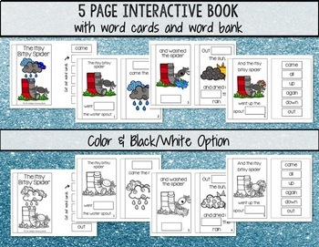Sight Word Nursery Rhyme Interactive Book- The Itsy Bitsy Spider