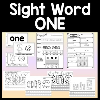 Sight Word ONE {2 Sight Word Books and 4 Worksheets!}