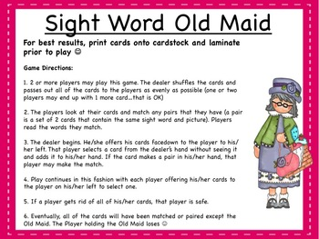 Sight Word Old Maid Game!