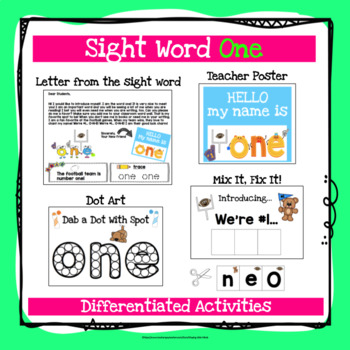 Sight Word One Activities