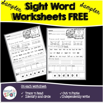 Sight Word PCI LEVEL 2 Worksheet FREEBIE