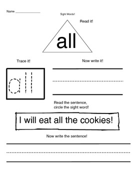 Sight Word Pack 1