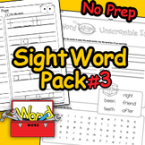 Word Work - Sight Word Fluency Review First Grade - Pack #3