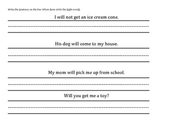 Sight Word Packet 6
