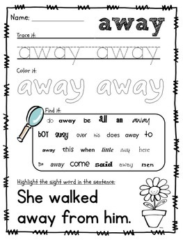 Sight Word Packet BUNDLE, Dolch Pre-Primer, Primer and First Grade Words!