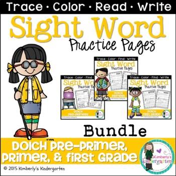Sight Word Packet BUNDLE, Dolch Pre-Primer, Primer and Fir