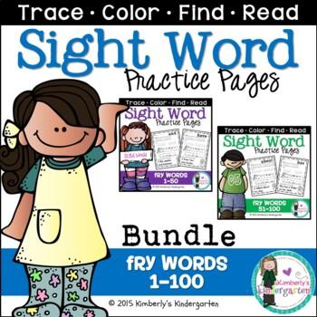 Sight Word Packet BUNDLE, K-1. Fry Words 1-100. Print & Go!