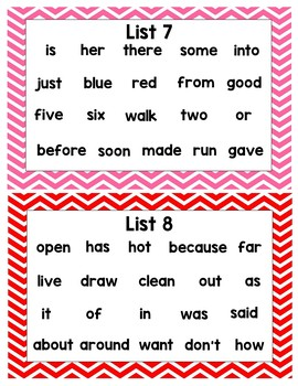 Sight Word Packet Chevron Frames (Editable)