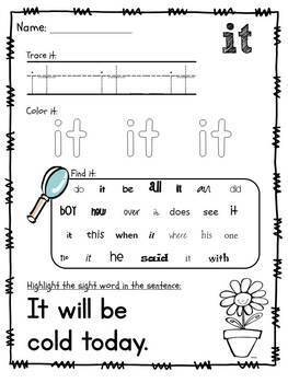 Sight Word Packet, Dolch Pre-Primer Words {No Prep}