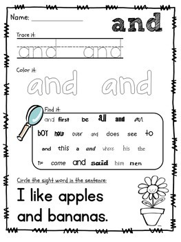 Sight Word Packet, K-1, Fry Words 1-50. Print & Go!