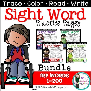 Sight Word Packet MEGA BUNDLE, K-1. Fry Words 1-200. Print & Go!