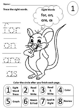 Sight Word Packet (for, on, are as)