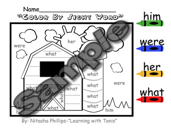 Sight Word Packet: him, were, her, what