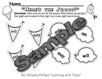 Sight Word Packet: will, only, may, am