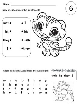 Sight Word Packet (with, his, they, I)