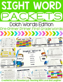 Sight Word Packets {Pre-Primer, Primer, and First Grade Dolch Words}