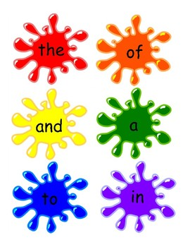 Sight Word Paint Splat Game with First 100 High Frequency Fry Words (PK-1)
