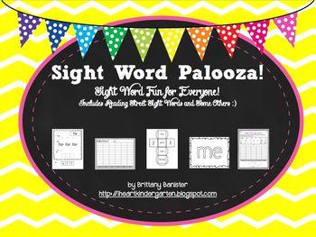Sight Word Palooza! Sight Word Pack Match SF Reading Stree
