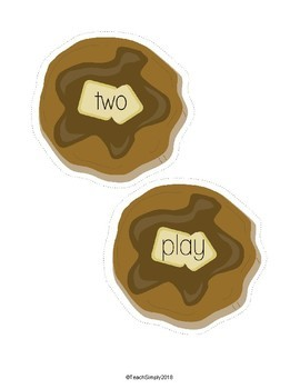 Sight Words - Flipping Pancakes. Dolch Pre-K Sight Words
