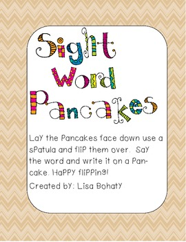 Sight Word Pancakes- stages 1-4