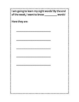 Sight Word Parent Letter