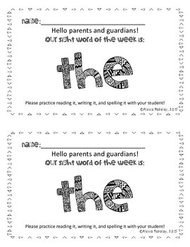Sight Word Parent Letters (Fry's First 100)