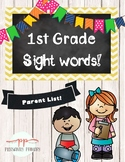 Sight Word Parent List