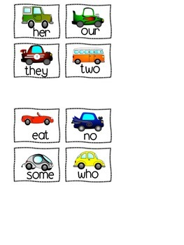 Sight Word Parking Lot Games {Set 2}