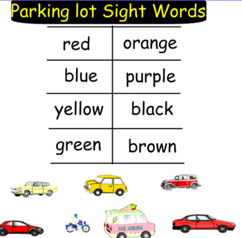 Sight Word Parking Lot~ Smartboard Activity (Full set)